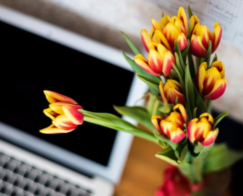 Ambiente de trabalho com flores