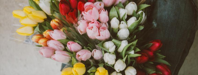 Buquê com variedade de cores das flores